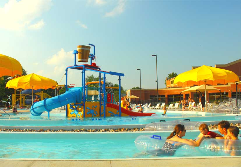 Yellow and Blue Water Slides and Pool